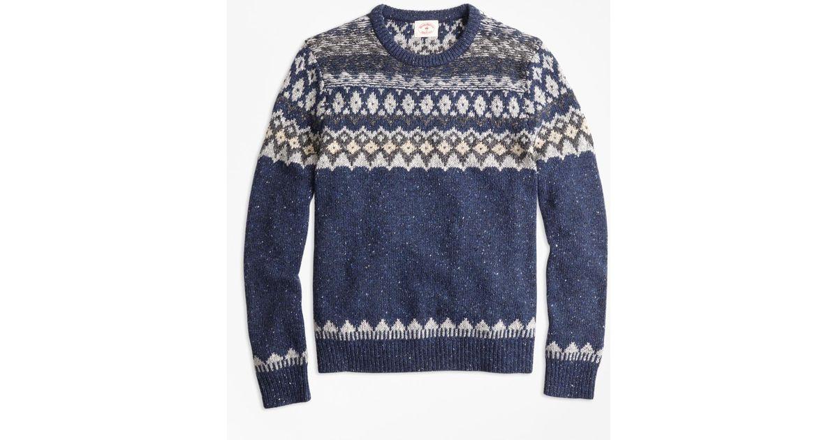 Brooks brothers Wool-alpaca-blend Fair Isle Sweater in Blue for ...