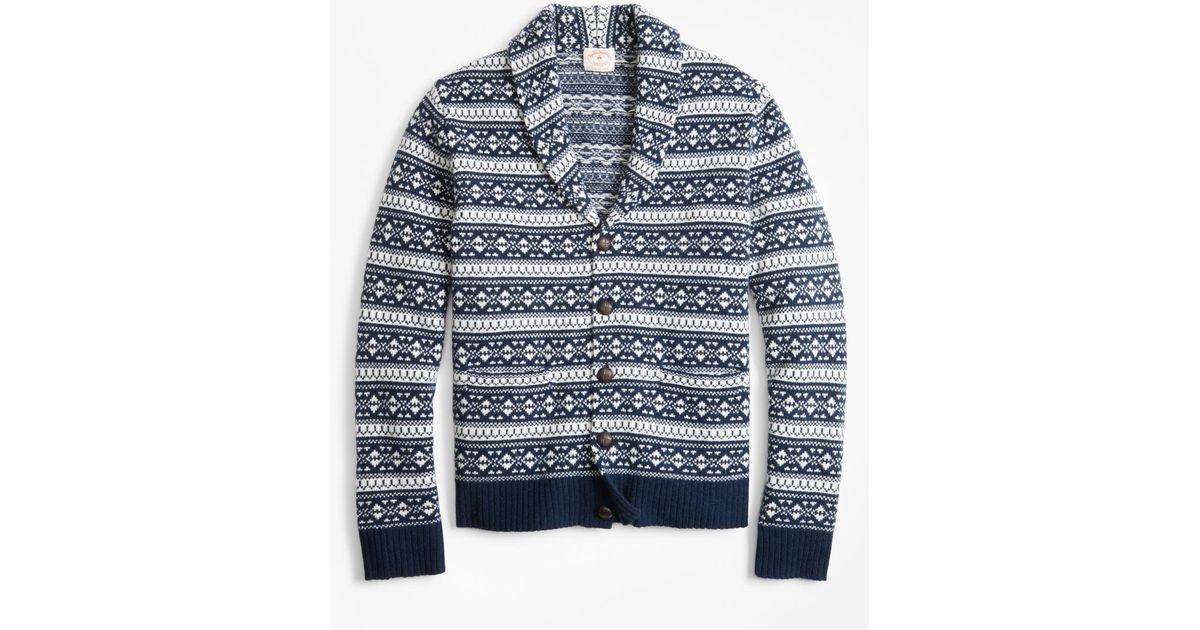 Brooks Brothers Blue Fair Isle Wool-blend Shawl-collar Cardigan for men