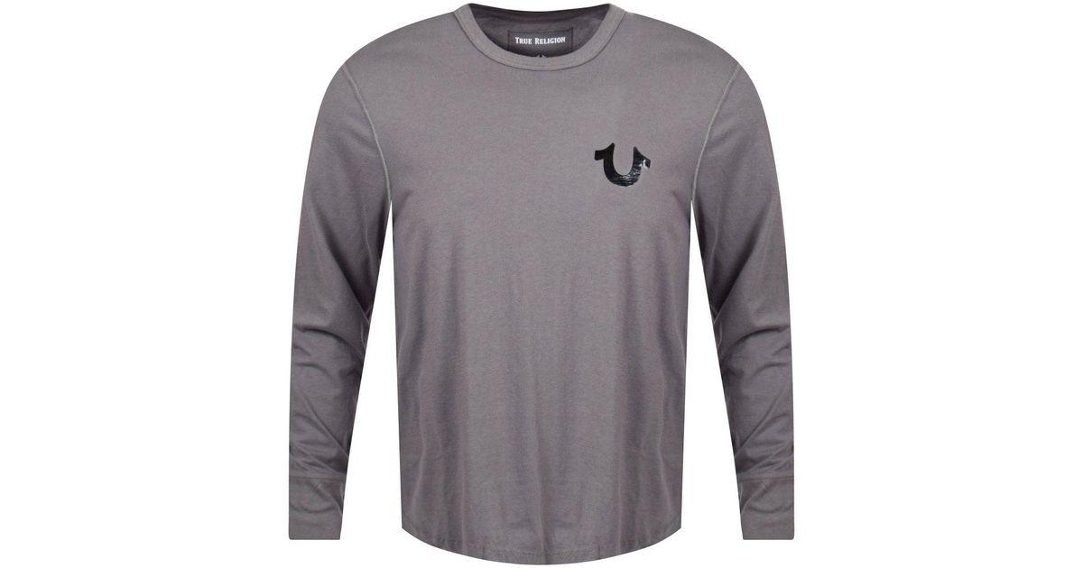 89d8f667803 True Religion Charcoal black Logo Long Sleeve T-shirt in Gray for Men - Lyst