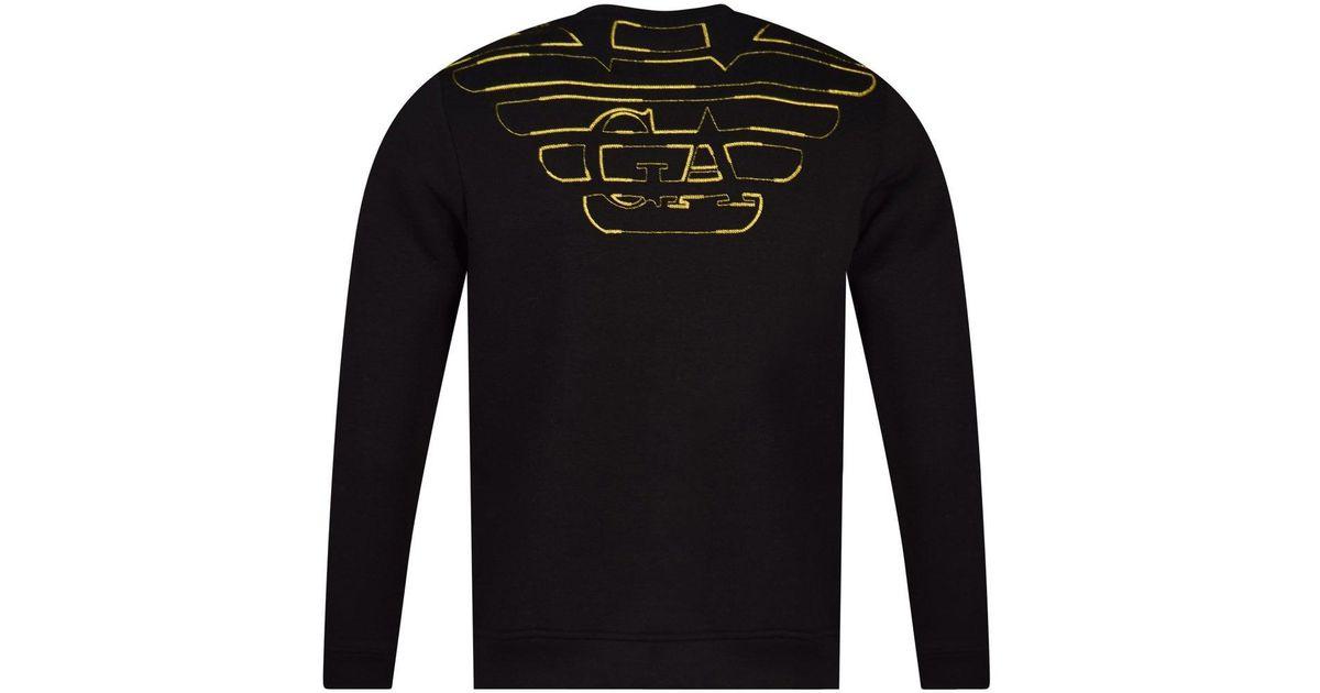 81efbadd Emporio Armani Black/gold Reverse Logo Sweatshirt for men