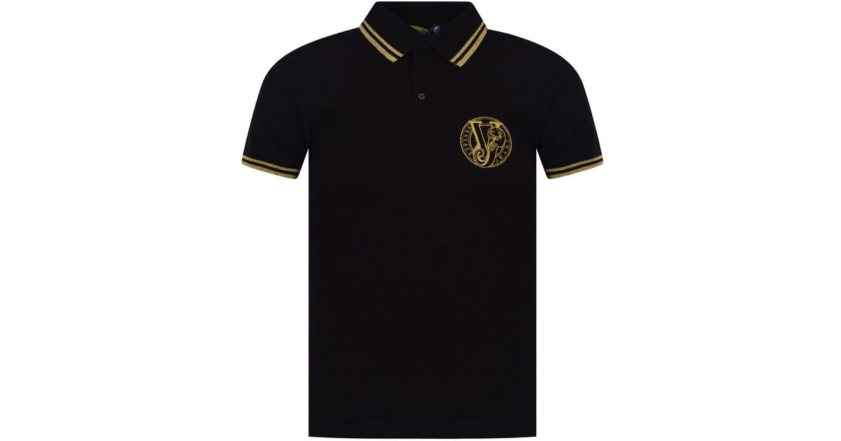 ca802bed4 Versace Jeans Black/gold Logo Polo Shirt in Black for Men - Lyst