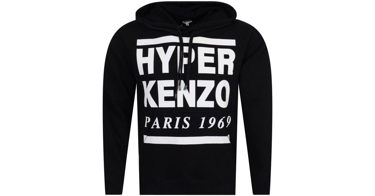 27426cd70 Lyst - KENZO Black/white Hyper Text Pullover Hoodie in Black for Men