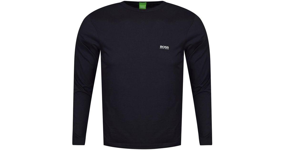 BOSS Togn Long Sleeve T Shirt in Navy