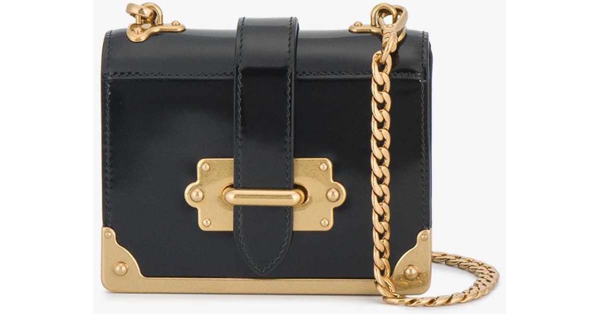 7440b38e8046 Prada Patent Leather Micro Cahier Box Bag in Black - Lyst