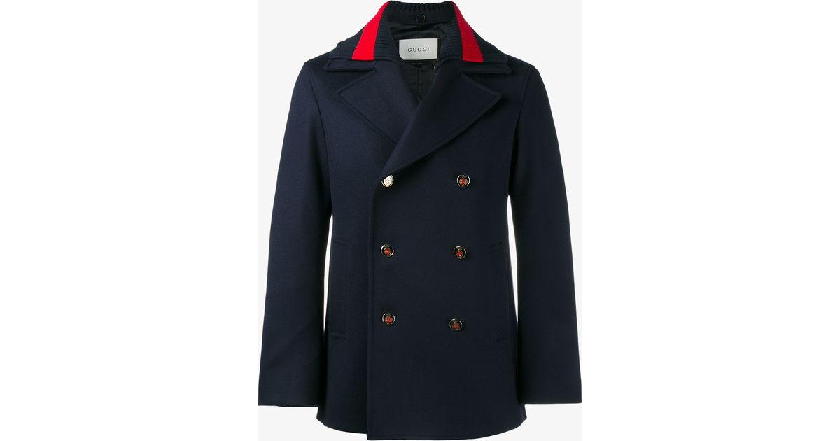 857a4345566d Lyst - Gucci Strip-trimmed Wool Peacoat in Blue for Men