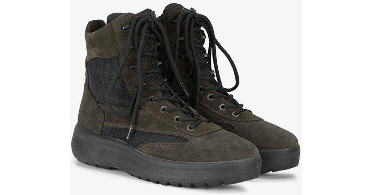 1762cb55cf02a Yeezy Black Suede Military Boots in Green for Men - Lyst