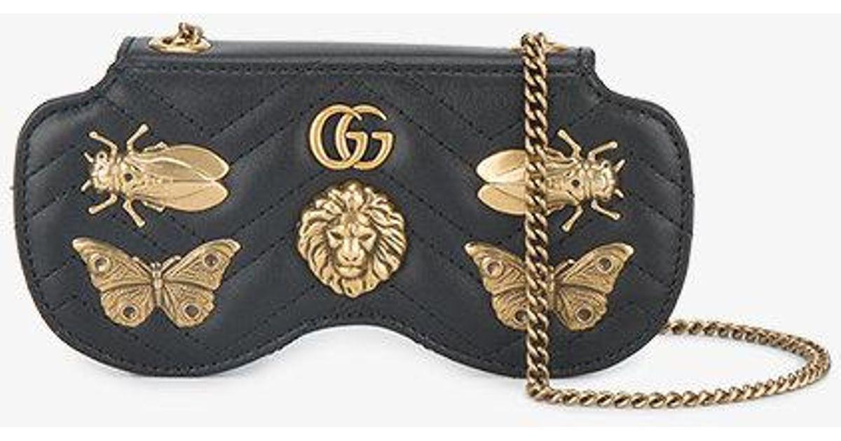 3faf612c5fc Lyst - Gucci Gg Marmont Bug Embellished Sunglasses Case in Black