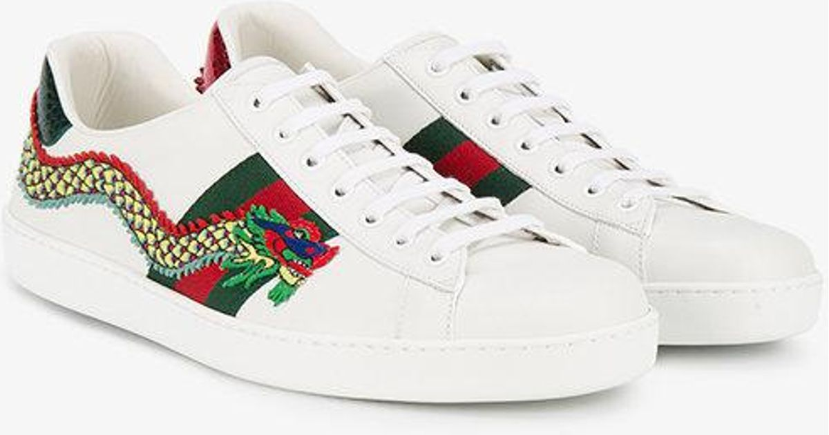 4fd85f0b Gucci White Dragon Embroidered Ace Sneakers for men