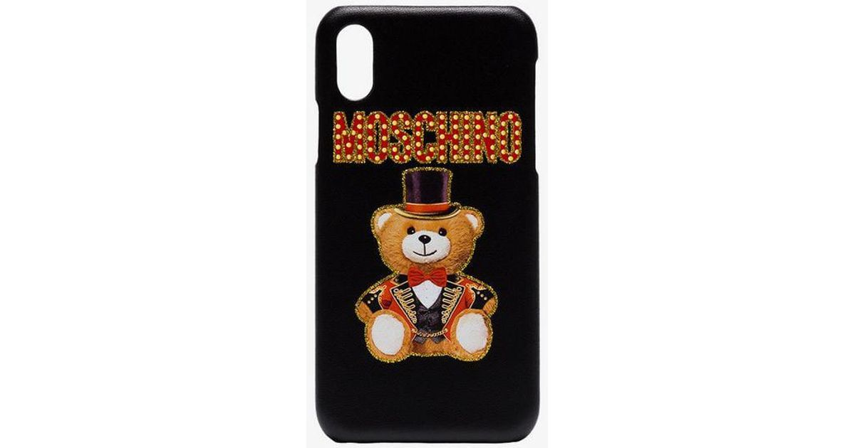 newest 49522 71d86 Moschino Black Cabaret Teddy Bear Iphone X Cover