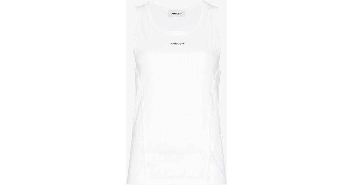 965721e6b78982 Lyst - Ambush Waves Logo Print Sleeveless Cotton T-shirt in White