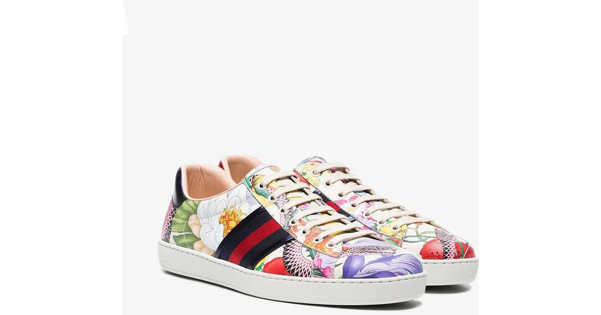 f978cc6fb Gucci Multi Coloured Ace Floral Print Leather Sneakers in White for Men -  Lyst