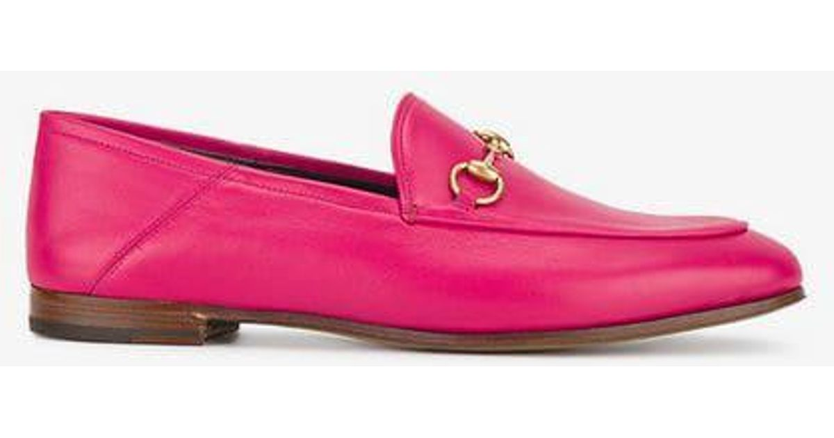 e26de6a72eb Lyst - Gucci Fuchsia Pink Brixton Leather Loafers in Pink
