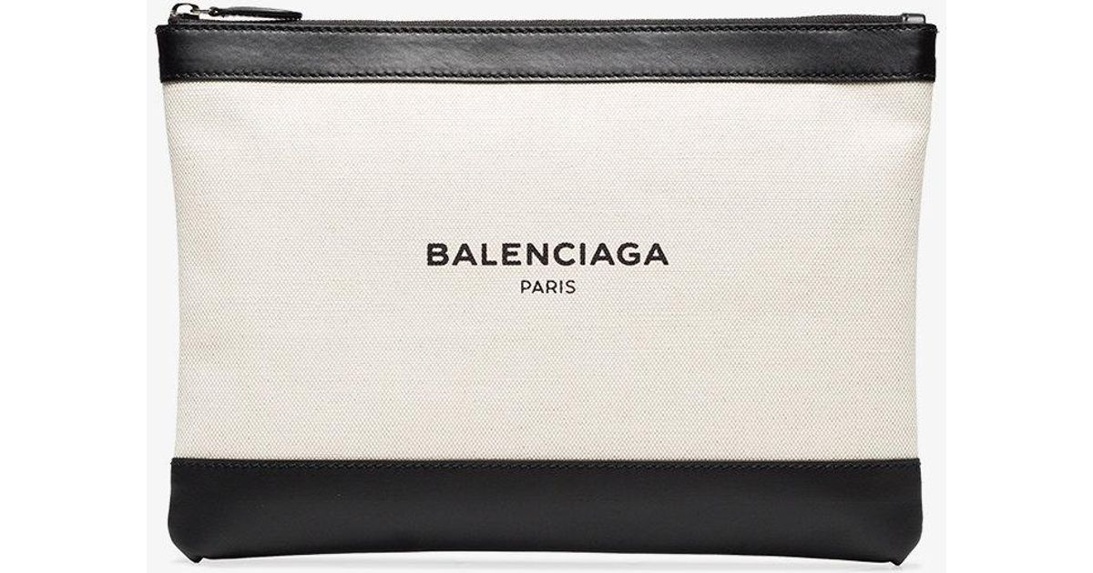 8153b12b4e Balenciaga Black And Cream Pochette Linen And Leather Clutch Bag in Natural  - Lyst