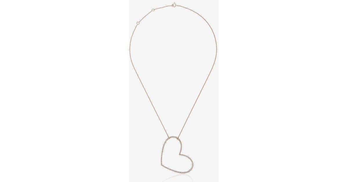 Rose gold and diamond necklace with large heart charm Rosa De La Cruz OpO9rwdEg
