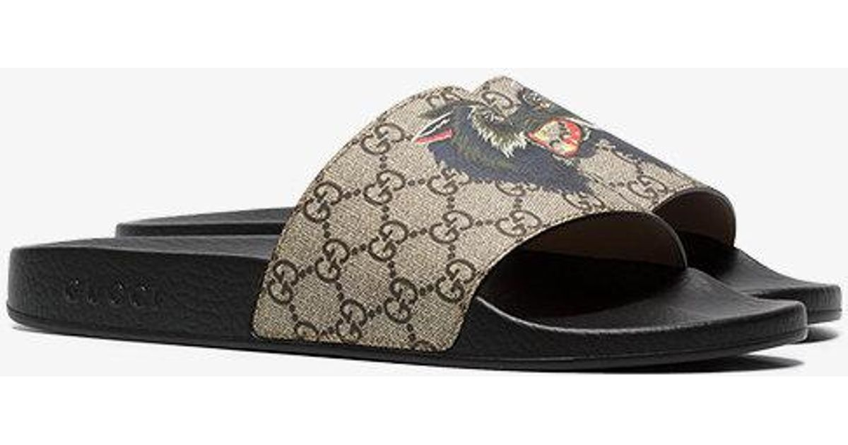 10cc217417ee Lyst - Gucci Gg Supreme Slides With Wolf for Men