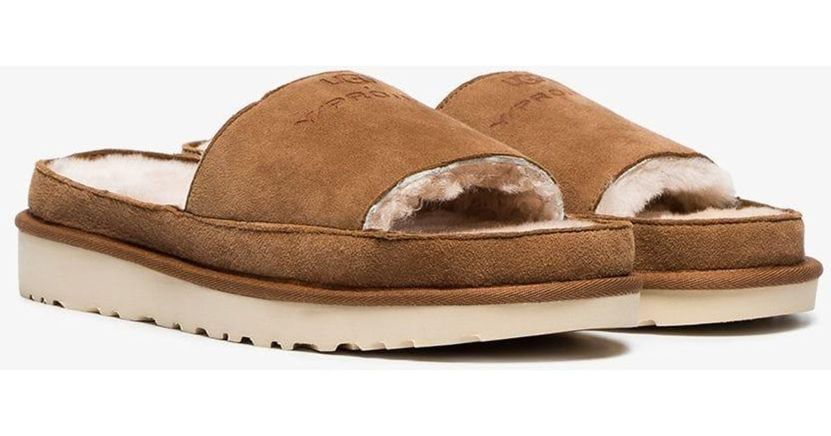 d947ae7a26f Y. Project Y/project Brown X UGG Ls1 Suede And Shearling Slides for men