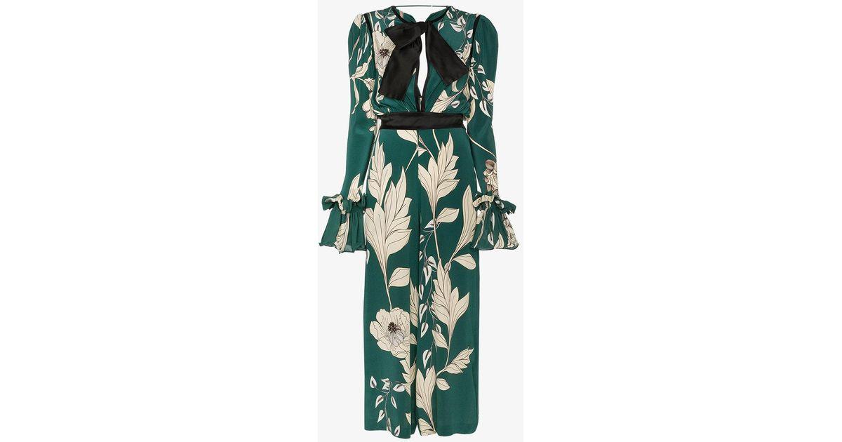 13d9b8f210 Lyst - Johanna Ortiz Silk Floral Jumpsuit in Green
