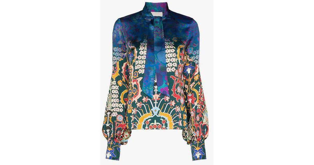 3c28e42e80a565 Lyst - Peter Pilotto Tie Neck Floral Print Silk Blouse in Blue