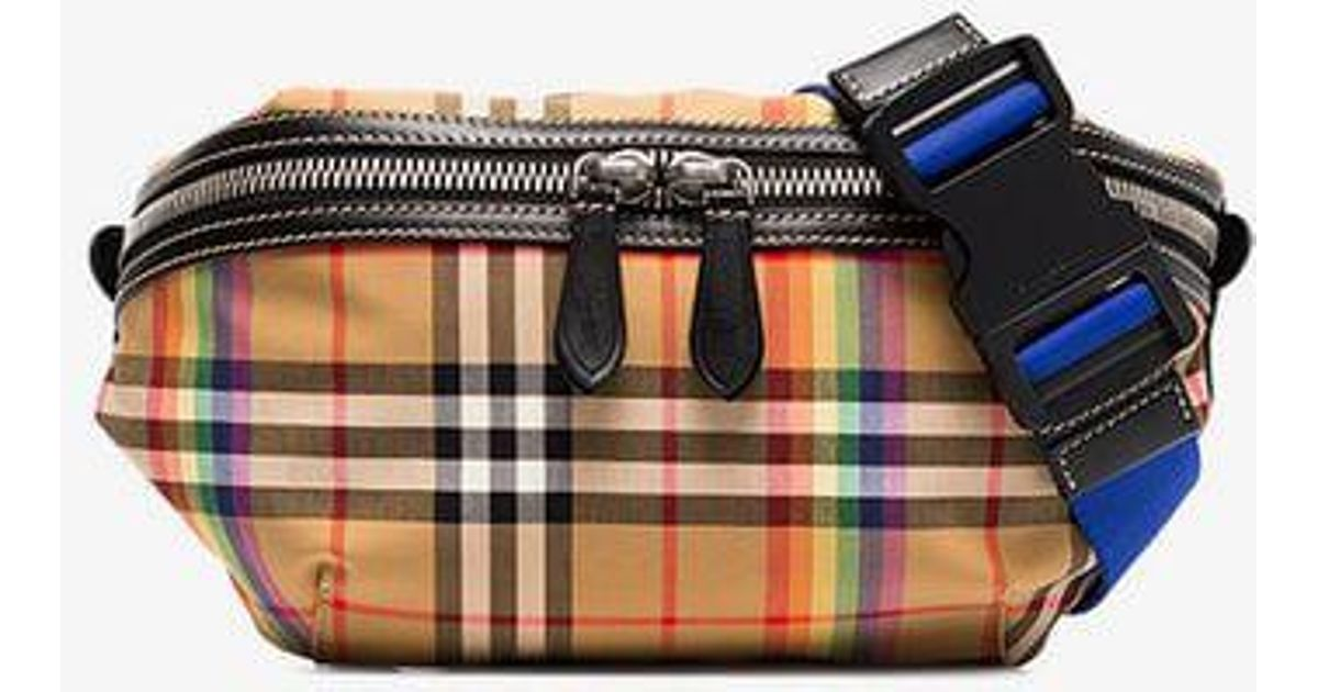 ef696f8d5740 Lyst - Burberry Multicoloured Check Cotton And Leather Belt Bag in Yellow  for Men