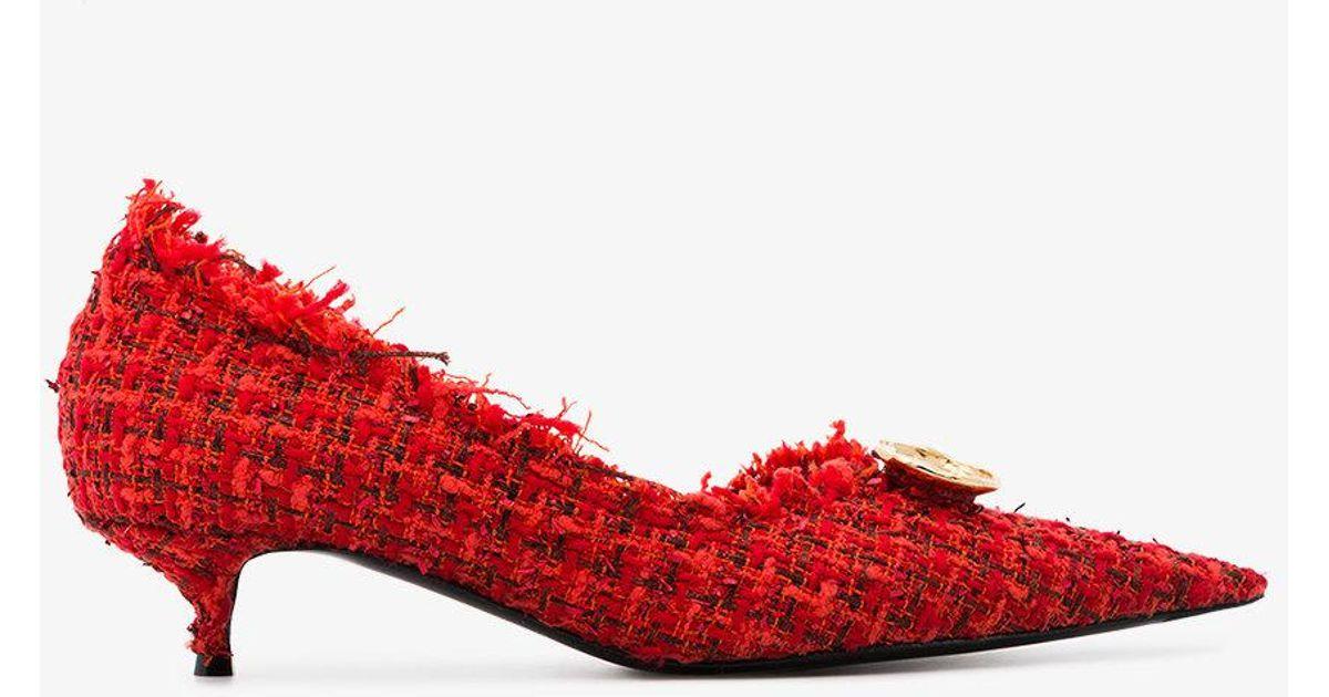 ba3e1c97dd7 Lyst - Balenciaga Red Knife 40 Tweed Pumps in Red