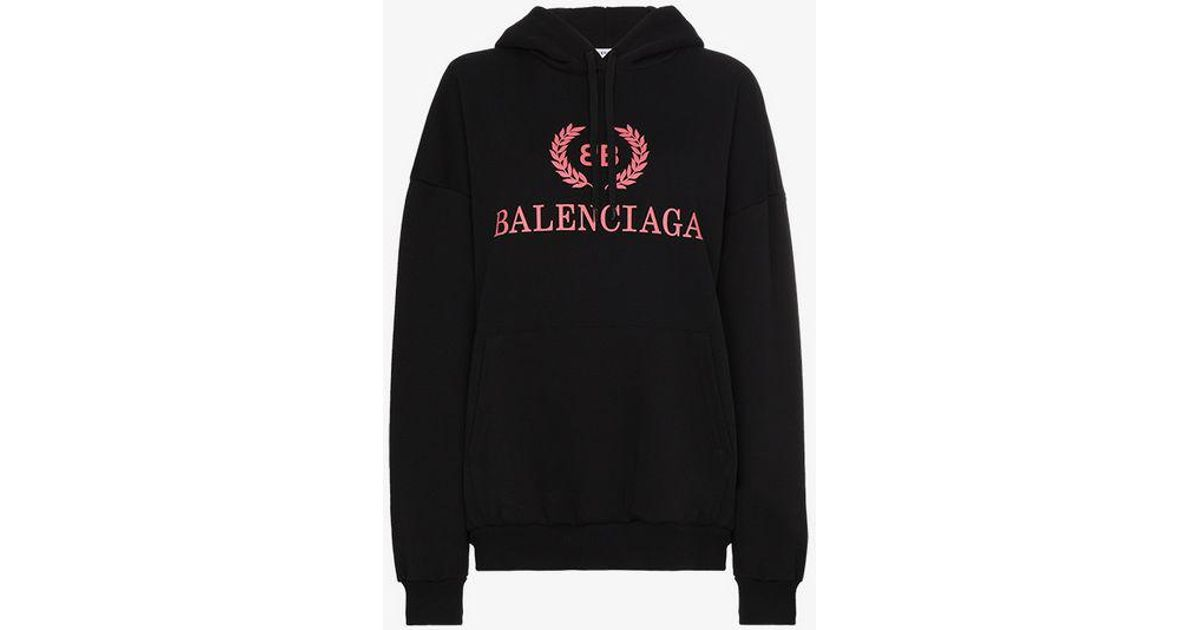 buy popular competitive price free shipping Balenciaga Black Logo Embroidered Hoodie