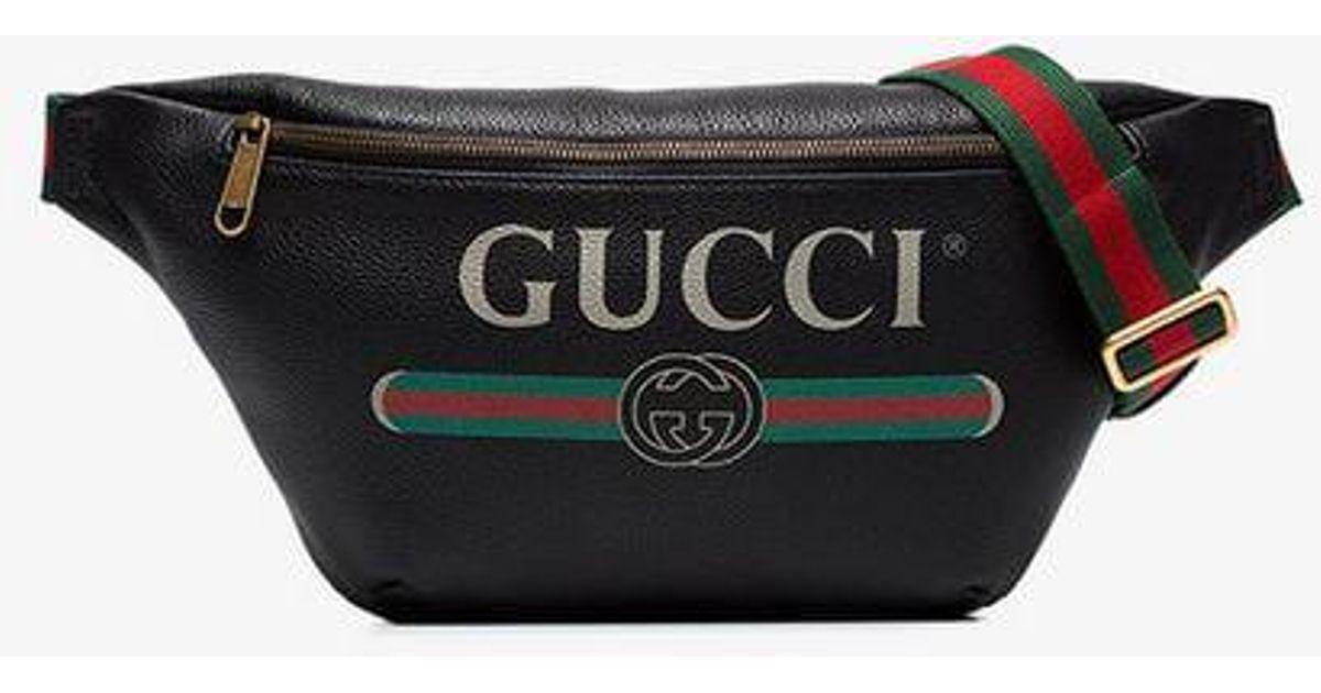 10cfcba2d7 Gucci Black Print Mini Belt Bag for men