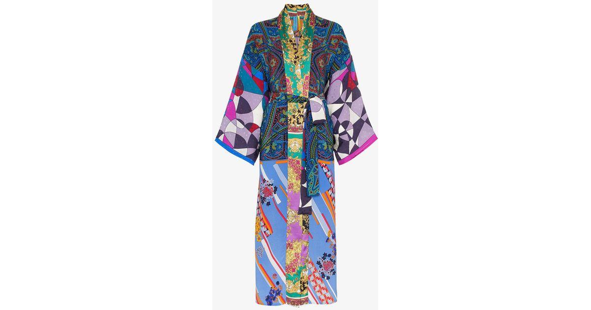 c8a0ca7356 Rianna + Nina Long Multi Floral Cube Print Silk Kimono Robe in Blue - Lyst