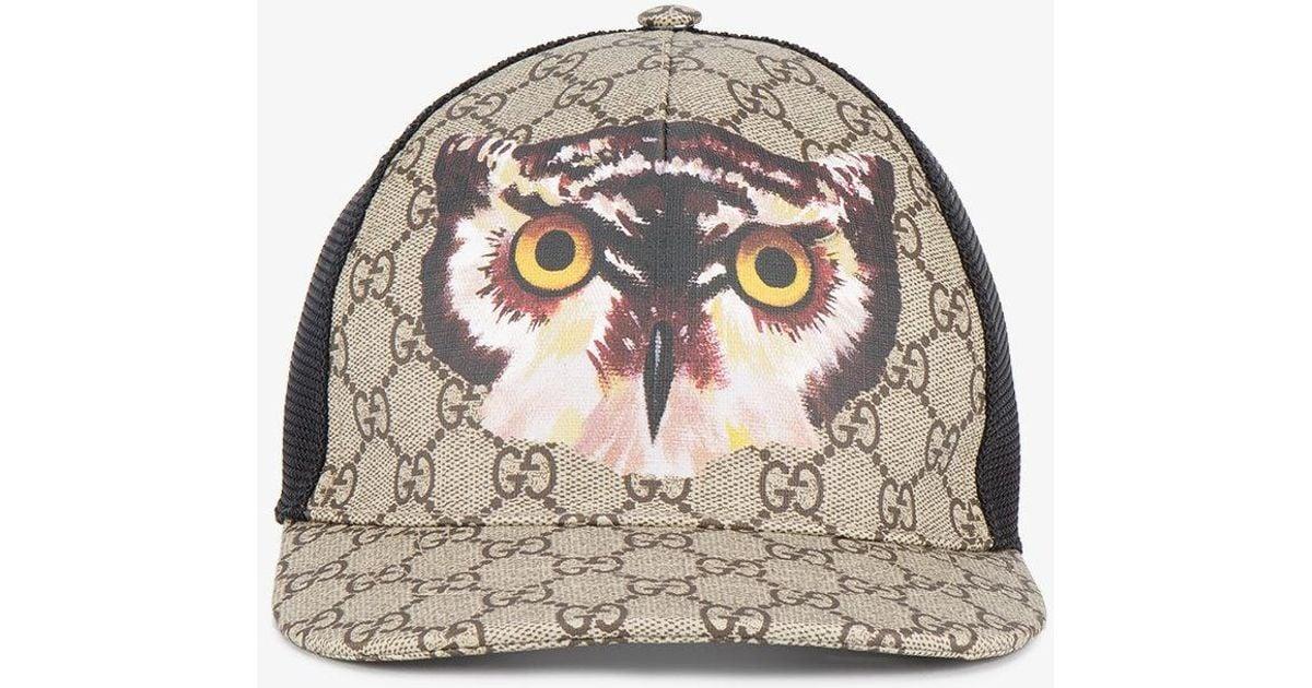 229b23100a6 COM  exclusive range b059d 7af18 Gucci Owl Print Gg Supreme Baseball Hat in  Natural for Men -  retail prices da4e1 00111 Gucci Ny ...
