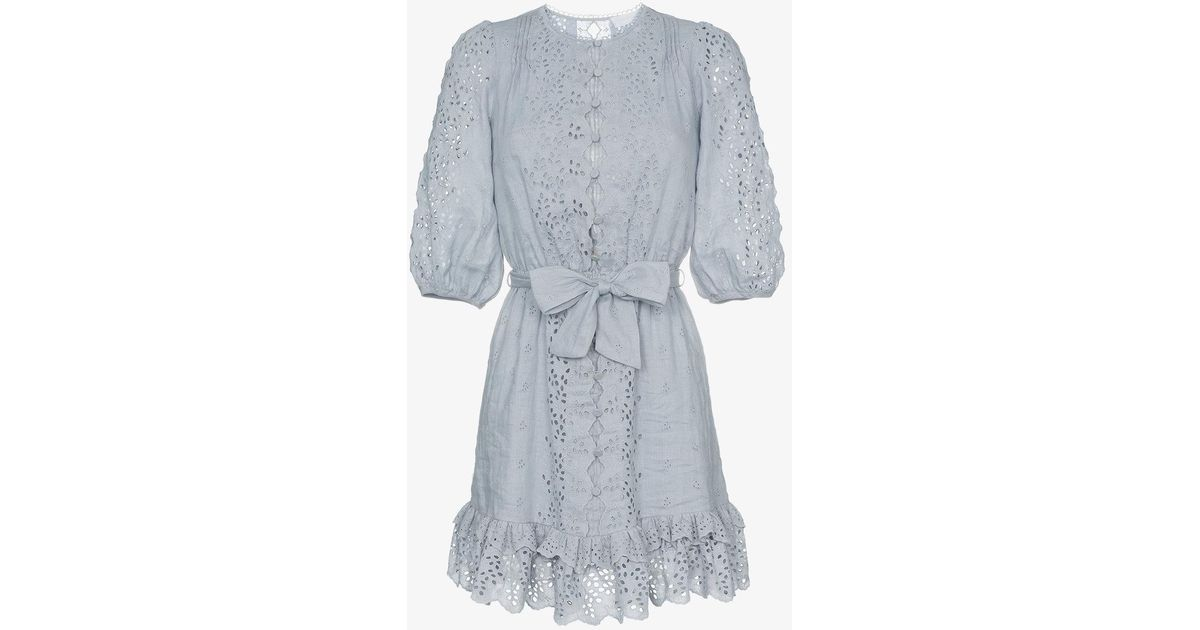 Cheap 100% Original Zimmermann Iris scalloped embroidered cotton mini dress Cheap Sale Cost 7yss9UrC