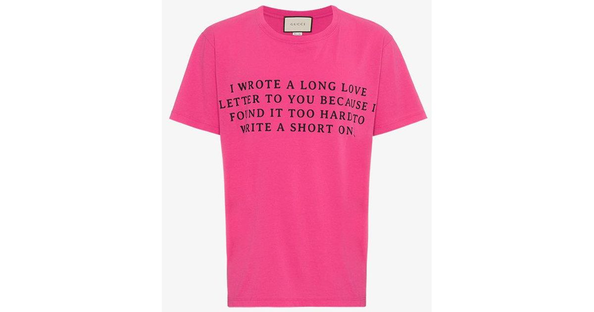 9089e4777ab Lyst - Gucci Love Letter Print T-shirt in Pink for Men