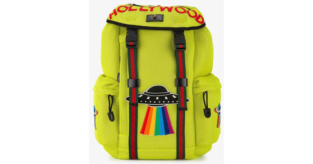 6f1fcd1bf5a5 Lyst - Gucci Mesh Backpack With Embroidery in Yellow for Men