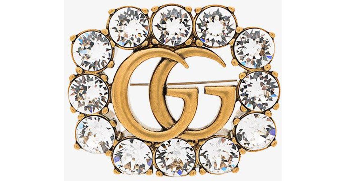 727d81beba3 Lyst - Gucci Gg Marmont Crystal Brooch in Metallic
