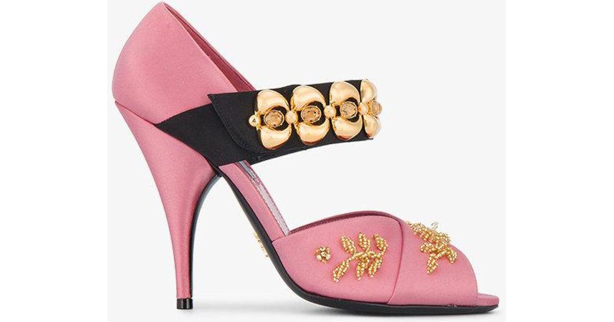 fd4e36cb863 Prada Pink Mary-jane 110 Satin Pumps
