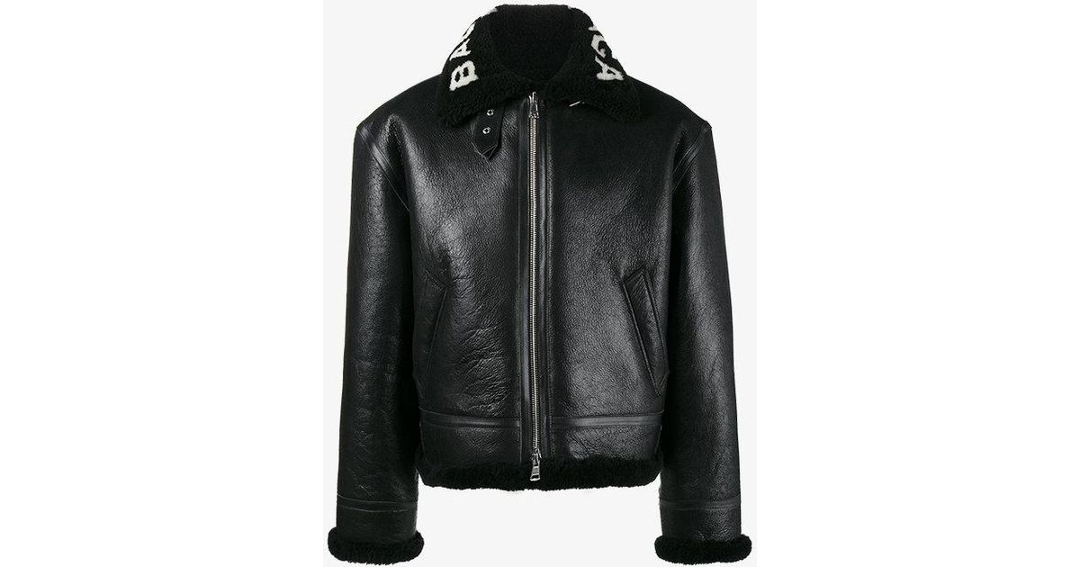 a86f9a662 Balenciaga Black Bombardier Shearling Leather Jacket for men