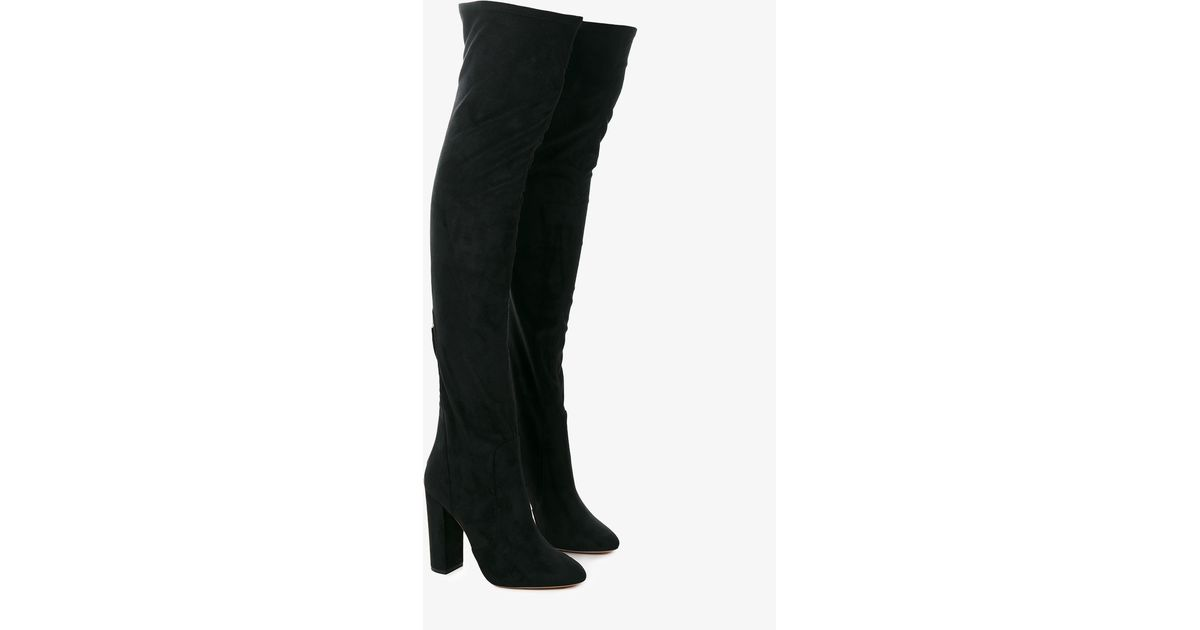aquazzura thigh high the knee velvet boots in black