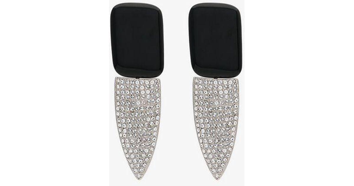 b4eeeafcd8 Saint Laurent - Black Smoking Clip-on Crystal Earrings - Lyst
