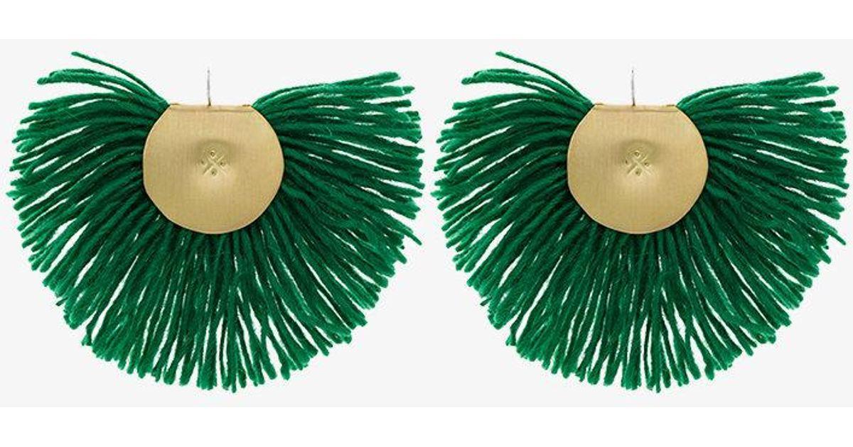 Green fringed earrings Katerina Makriyianni flkQzRC