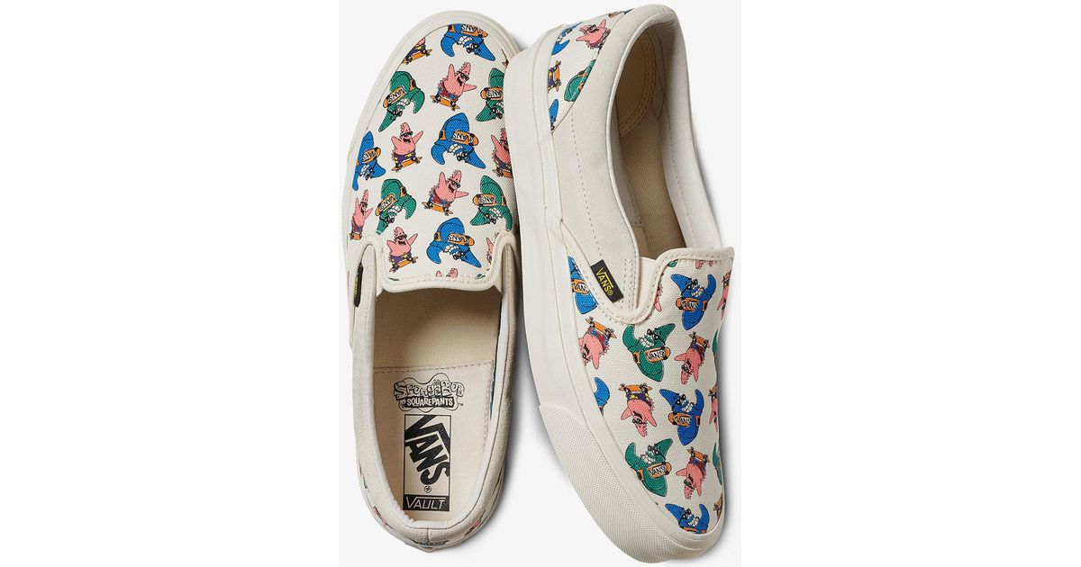 vans x spongebob graphic slip on sneakers in white lyst
