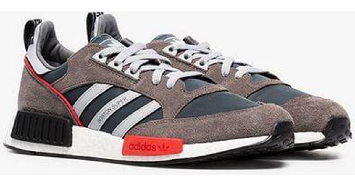 Adidas Gray Never Made Multicoloured Boston Super R1 Suede Sneakers for men