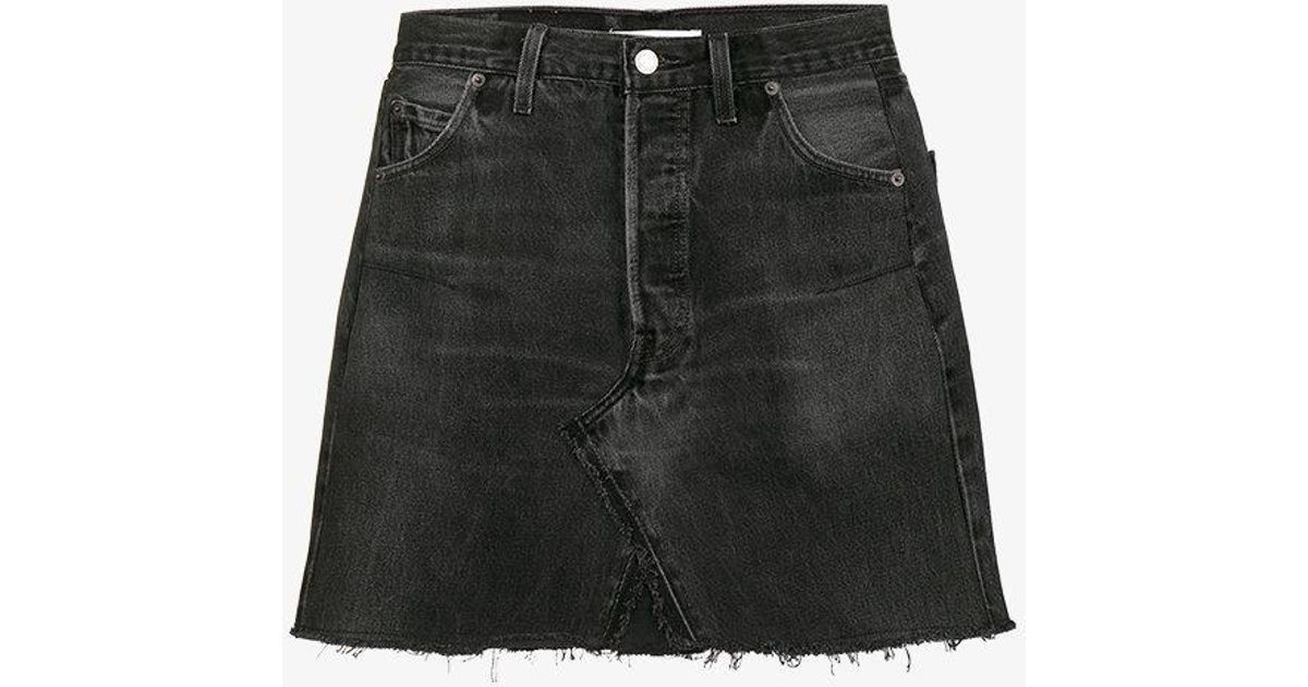 fc54f32bd RE/DONE Levis High Waisted Mini Washed Denim Skirt in Black - Lyst