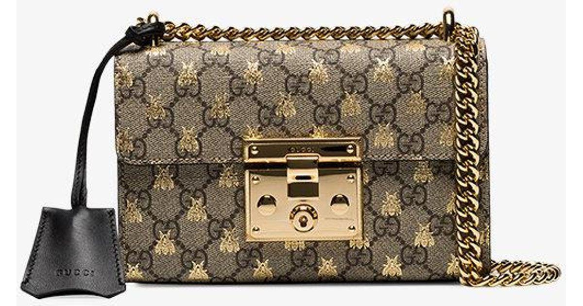 62a8dd5724d10c Gucci Padlock Small Gg Bees Shoulder Bag - Lyst