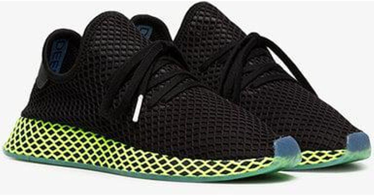 Adidas Black And Green Deerupt Runner Sneakers for men