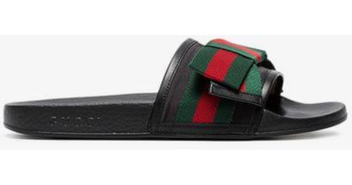 8eee82f79 Gucci Sliders With Bow in Black - Save 62% - Lyst