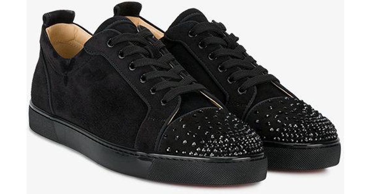 hot sale online 8c560 2a4e0 Christian Louboutin Black Leather Louis Junior Spike Sneakers for men