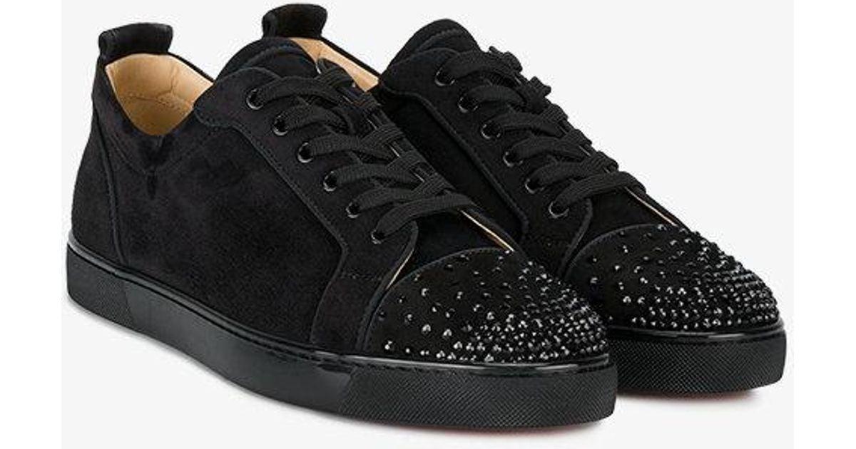 hot sale online caa4f da2ee Christian Louboutin Black Leather Louis Junior Spike Sneakers for men