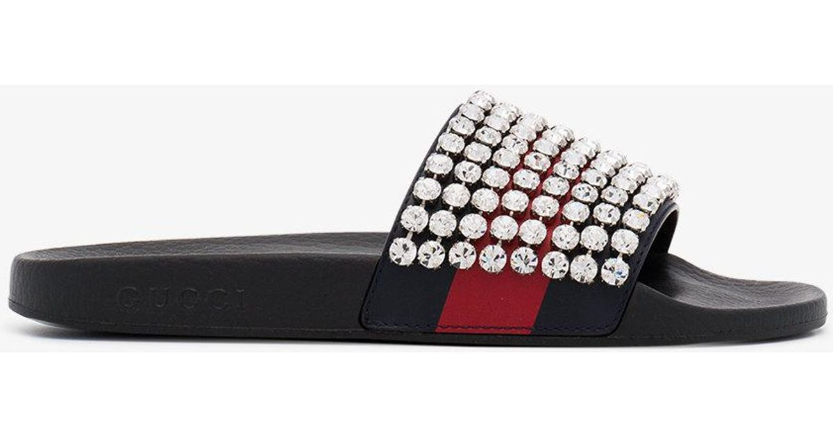 13c474aab44 Lyst - Gucci Web Slides With Crystals in Black