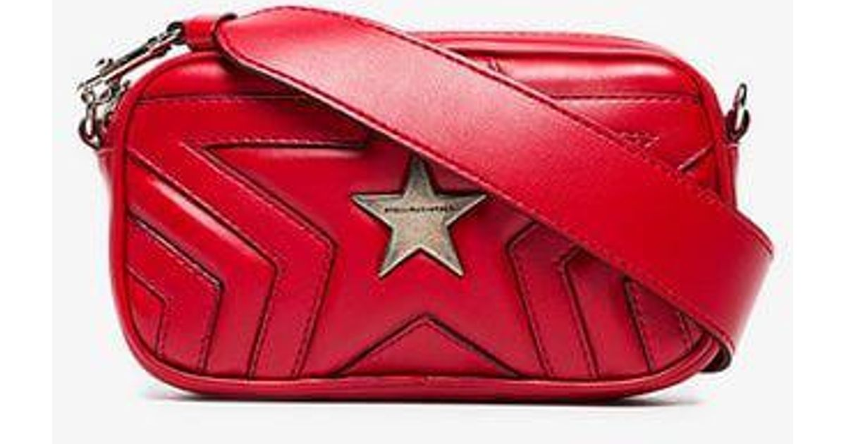 Lyst - Stella McCartney Red Star Pu Crossbody Bag in Red 272ad4e176781