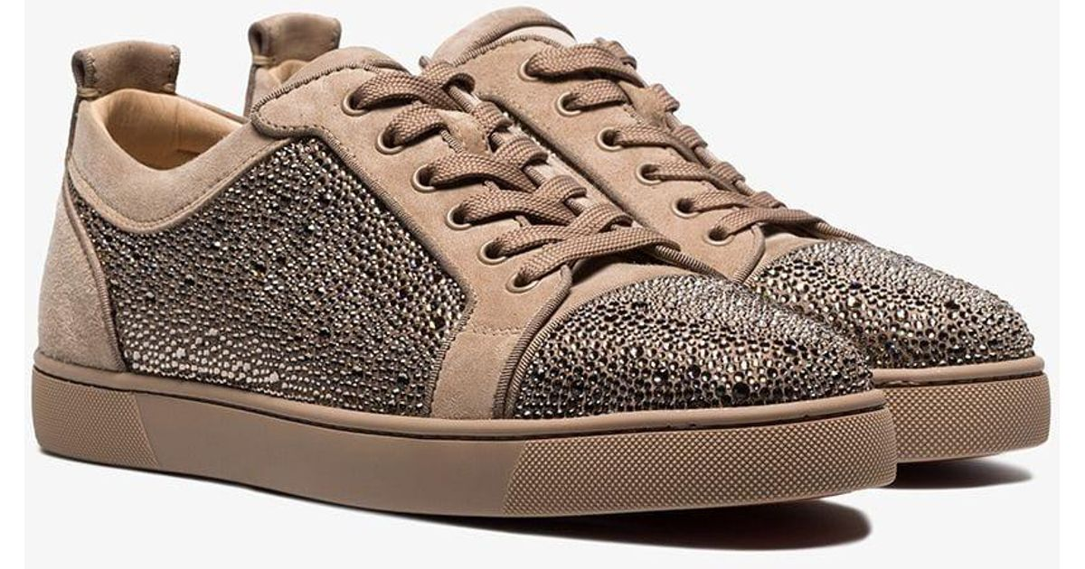ac4d24aca2c Christian Louboutin Brown Beige Louis Rhinestone-embellished Low-top Suede  Sneakers for men