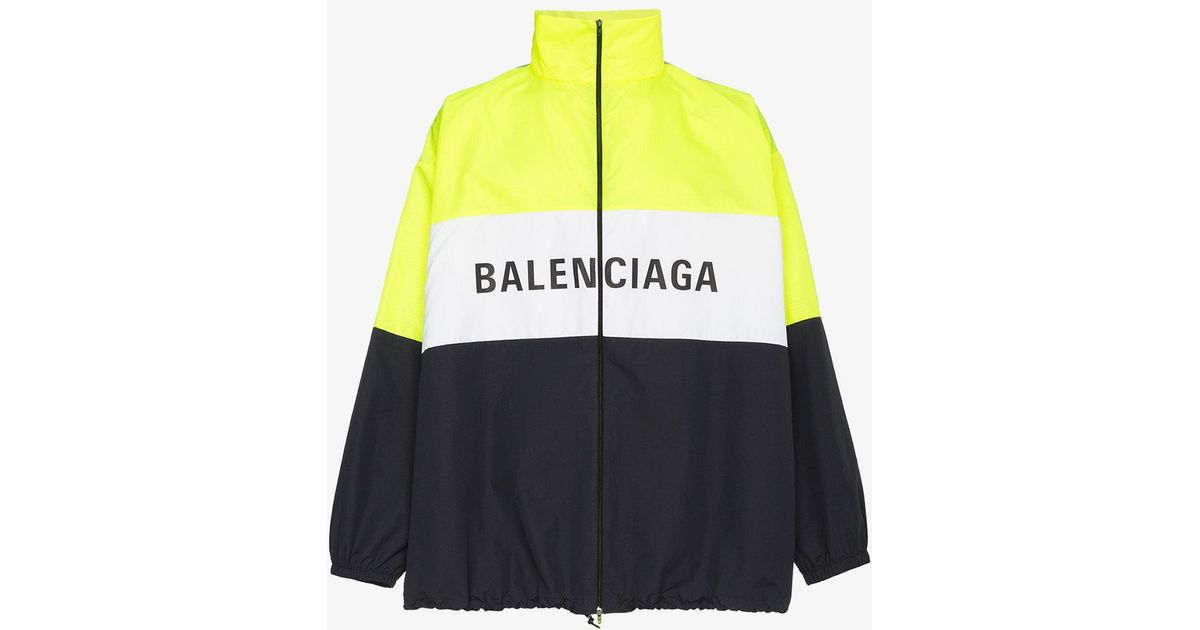 cbc6fa2703eb Balenciaga Logo Zip Up Track Jacket in Yellow for Men - Lyst