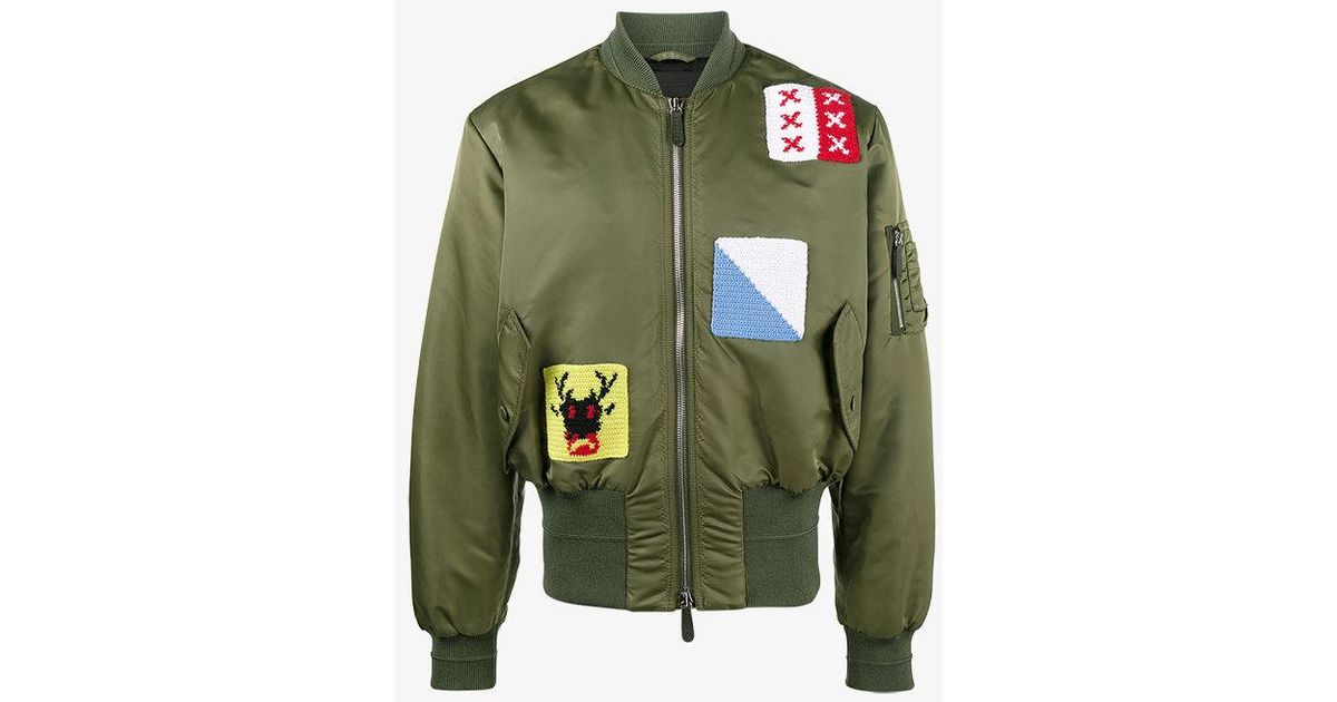Lyst jw anderson appliqué stitch satin bomber jacket in green
